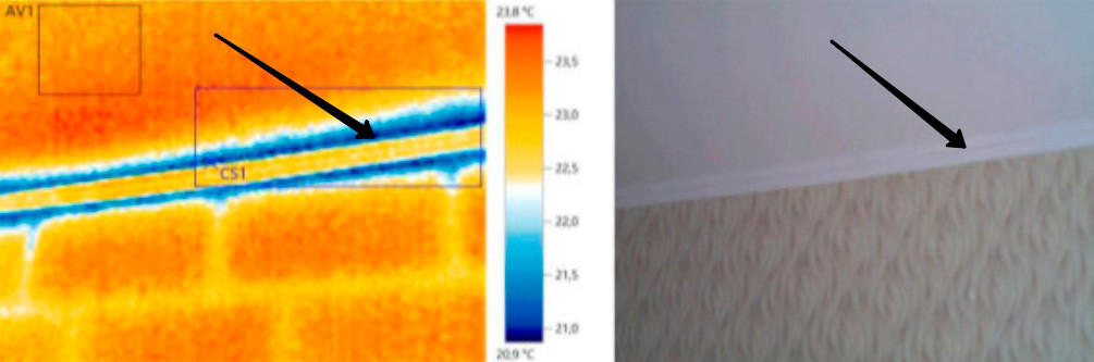 Тепловизионное обследование стены